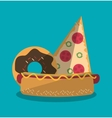 Pizza hot dog and donut of fast food concept vector image vector image