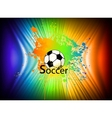 Rainbow ink background with soccer ball vector image