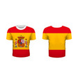 realistic sport t-shirt with spain flag from front vector image vector image