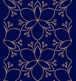 seamless linear golden flower pattern on blue vector image vector image
