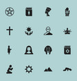 set of 16 editable religion icons includes vector image