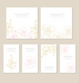 set of card with flower rose and leaves wedding vector image vector image