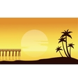 Silhouette of beach with pier scenery vector image vector image