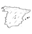 sketch of a map of spain vector image vector image