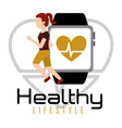 woman running with smartphone heart rate healthy vector image vector image