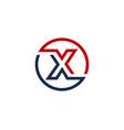 x letter circle line logo icon design vector image