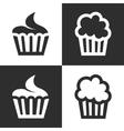 black cupcake icons set vector image