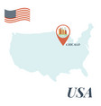 usa map with chicago pin travel concept vector image