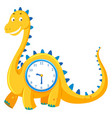 a dinosaur clock on white background vector image vector image