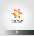 abstract fire flower logo template vector image vector image