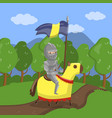 armed knight riding horse on summer landscape vector image vector image
