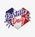bastille day celebration card with heart and flag vector image
