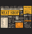butchery products menu meat sketch chalkboard vector image vector image