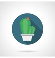 Cacti with flower round flat color icon vector image