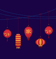 cartoon color japanese paper lantern card vector image vector image