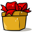 cartoon shiny yellow present gift box vector image vector image