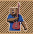 character bear with a striped guitar in a rage vector image