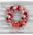 christmas decoration on wooden wall vector image