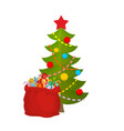 Christmas tree and bag santa claus with gifts red