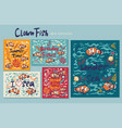 collection cards with clown fish and various vector image