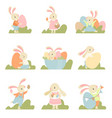 collection of cute bunnies dressed in sweet vector image