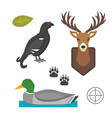 deer head wild and bird duck silhouette mammal vector image vector image