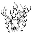 deer horns fire logo design concept vector image