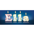 ELLA written with burning candles vector image vector image