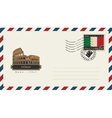 envelope with a postage stamp with coliseum vector image vector image