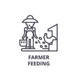 farmer feeding line icon outline sign linear vector image vector image