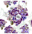 floral pattern with detailed flowers in purple vector image vector image