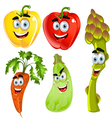 Funny cartoon cute vegetables peppers asparagus vector image vector image