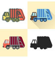 garbage truck icon set in flat and line styles vector image
