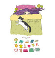 girl and cats set for sleep vector image vector image