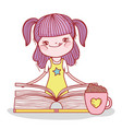 girl with book and chocolate cup cartoon vector image