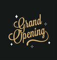 grand opening lettering on black background banner vector image vector image