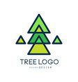 green tree logo original design green geometric vector image vector image