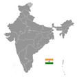 grey political map india vector image vector image