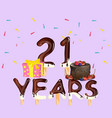 happy birthday number 21 greeting card vector image vector image
