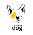 happy dog logo on white background with yellow vector image vector image