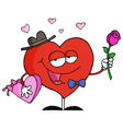 Heart Holding Roses And Candy vector image vector image
