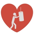 heart shape with pictogram man knocking bag weight vector image vector image