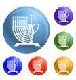 high candle pitcher icons set vector image