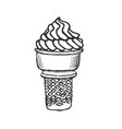 ice cream cone sketch hand drawn vector image vector image