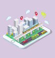 isometric city with public transport on smartphone vector image vector image