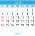 june calendar vector image
