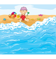 Little baby boy playing on the beach vector image vector image