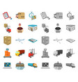 logistics and delivery cartoonmono icons in set vector image vector image