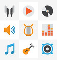 multimedia flat icons set collection of audio vector image
