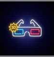 neon 3d glasses sign bright glowing cinema vector image vector image